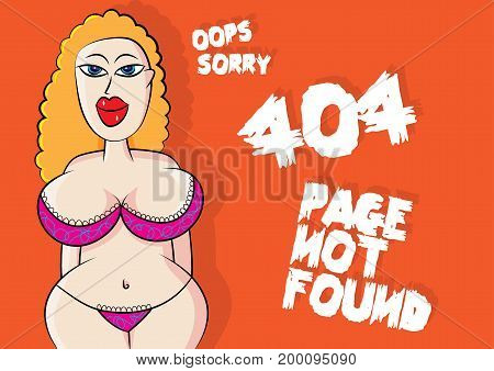 sexy lingerie model 404 page not found error vector illustration