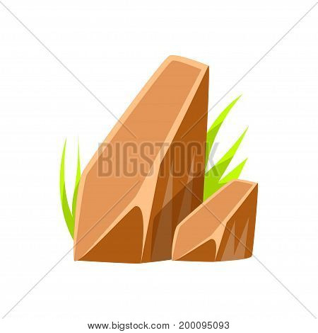 Brown smooth mineral stones, rocks in natural environment vector Illustration on a white background
