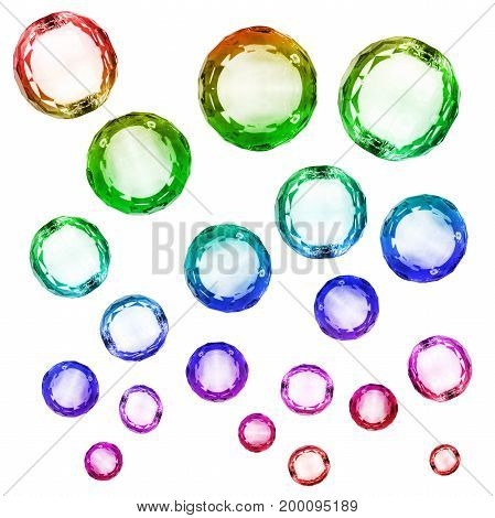 Group of rainbow sphere crystals on white background