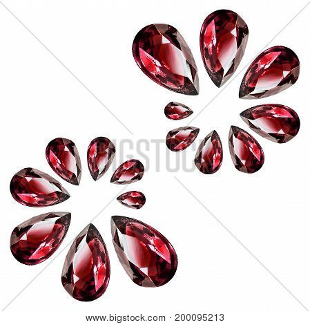 Group of red drop shaped gemstones isolated over white