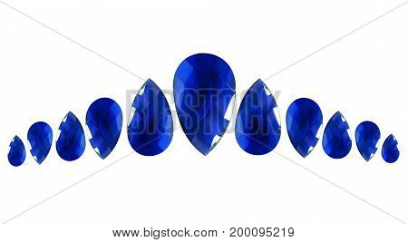 Group of drop shaped faceted sapphires on white background