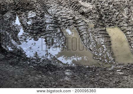 A terrible forest road Off-road Puddles mud