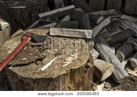 tools for firewood cutting axe firewood stump