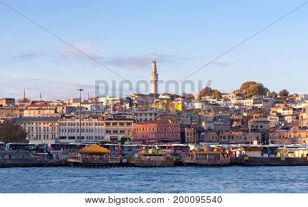 Panoramic cityscape over the Bosphorus with a large residential area in Istanbul, Turkey