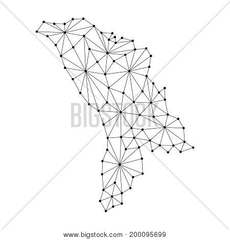 Moldova map of polygonal mosaic lines network rays and dots vector illustration.