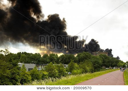 Fire In Recycling Factory With Heavy Smoke