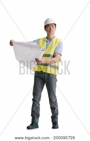 Young Asian Architect With Building Plan