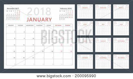 Calendar planner 2018, week starts monday, vector design template