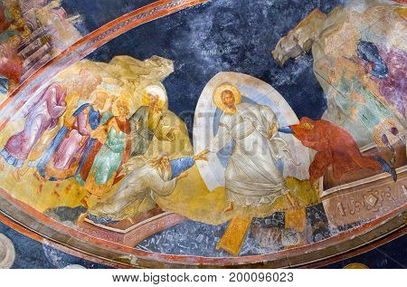 ISTANBUL, TURKEY - OCTOBER 31, 2015: The Anastasis fresco in the Church of the Holy Saviour in Chora (Kariye Camii)