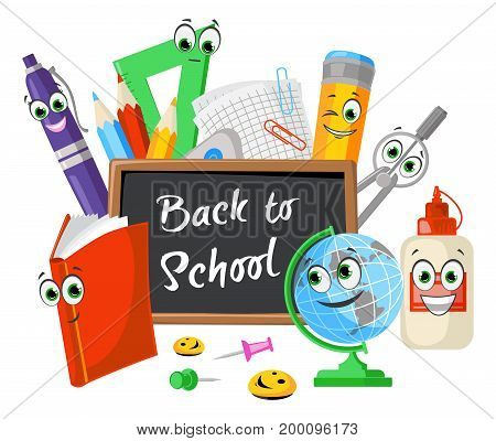 Funny composition of stationery school objects with eyes and smiles concept of a beginning of an educational year at school vector illustration for graphic and web design