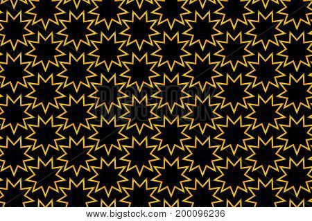 Golden nine pointed star on black background - vector pattern  , Symbol of Bahai Faith pattern , Baha'i symbol