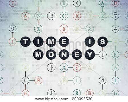 Time concept: Painted black text Time is Money on Digital Data Paper background with Hexadecimal Code
