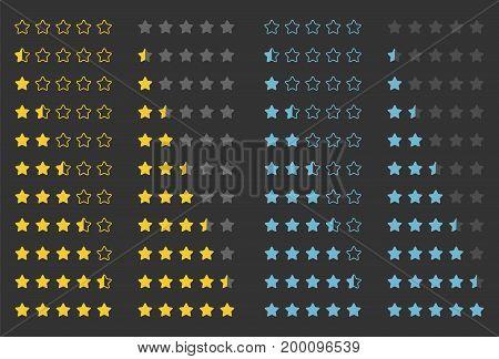 rating golden stars set isolated on background