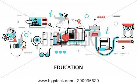 Modern flat thin line design vector illustration concept of education process learning in educational institution and items of study equipment for graphic and web design