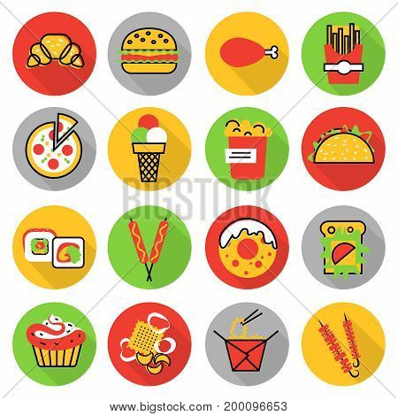 Modern flat thin line design vector illustration icons set of unhealthy fast food and snacks for graphic and web design