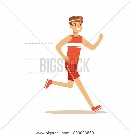 Smiling running man character vector Illustration on a white background