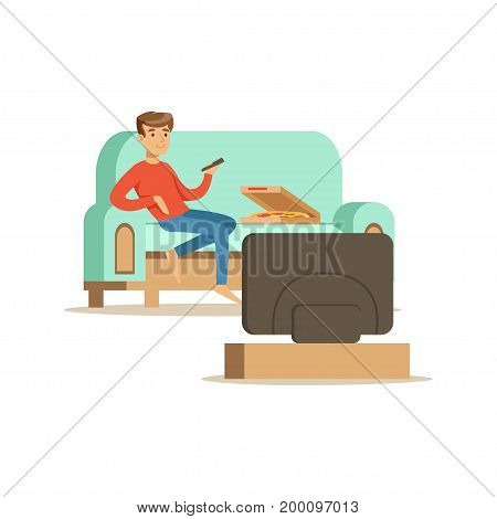 Young man character sitting on a sofa and watching TV, people resting at home vector Illustration on a white background