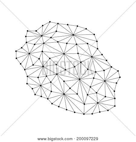 Reunion map of polygonal mosaic lines network rays and dots vector illustration.