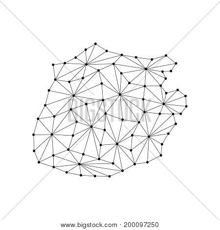 Saba map of polygonal mosaic lines network rays and dots vector illustration.