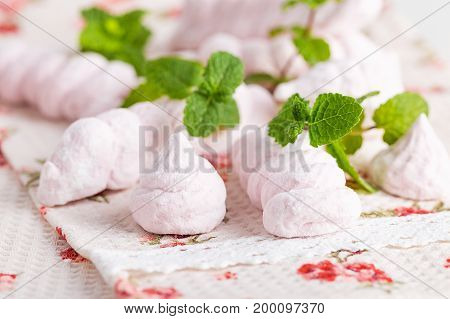 Homemade Pink Marshmallow With Mint