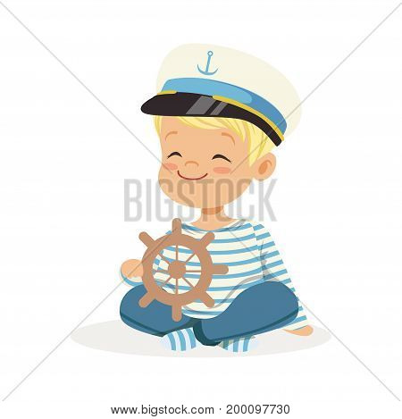 Cute smiling little boy character wearing a sailors costume sitting on the floor playing toy wooden ship wheel colorful vector Illustration on a white background