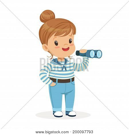 Beautiful little girl character wearing a sailors costume playing toy spyglass colorful vector Illustration on a white background
