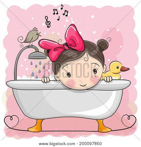 Cute cartoon Girl in the bathroom and bird