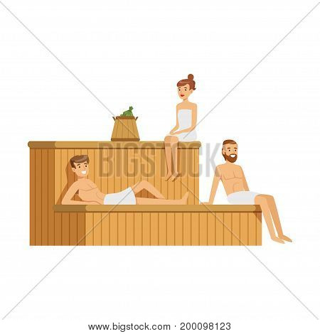 People wearing towels relaxing in sauna steam room, spa procedures colorful vector Illustration on a white background