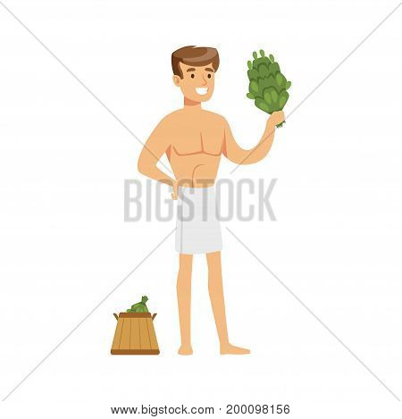 Smiling young man wearing bath towel posing with birch broom and wooden bucket colorful vector Illustration on a white background