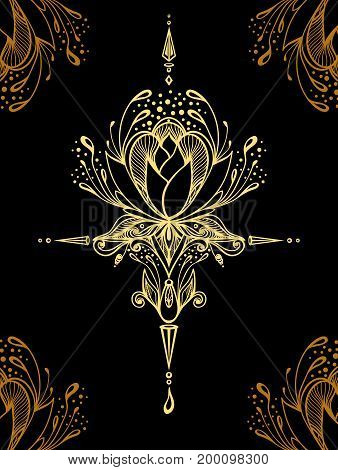 Abstract decorative element in Boho style gold on black  or print T-Shirt or for decorate different things or for  textile or for perfume or for package