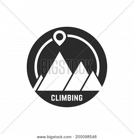 climbing logo with map pin. concept of rappelling, alpinism, visual identity, vacation, mission, challenge. isolated on white background. flat style trend modern logotype design vector illustration