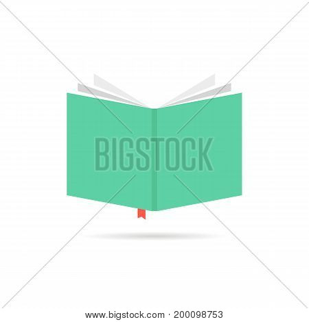 green book icon with bookmark. concept of booklet, bookshelf, ebook, reader, classbook, e-book, scrapbook. isolated on white background. flat style trend modern book logo design vector illustration