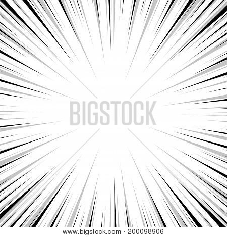 Pop art comics book style radial speed line. Action background monochrome sunburst. Vector vintage illustration halftone effect. Wow concept comic burst for text, anime, manga design template.