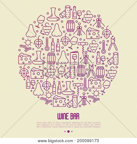 Wine bar concept in circle for restaurant menu of natural alcohol drinks. Vector illustration with thin line icons related with wine making and winery.