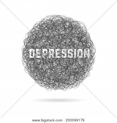 depression with hand drawn cloud and shadow. concept of stressful, confused, humiliation, metaphor, hopeless. isolated on white background. sketch style trend modern logo design vector illustration