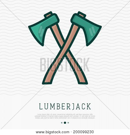 Two axes with wooden handles are crossed thin line icon. Vector illustration for lumberjack or sawmill logo.