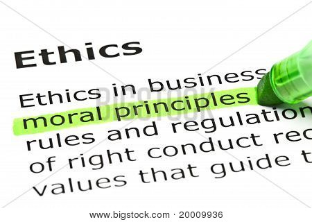 Moral principles highlighted in green under the heading Ethics. poster