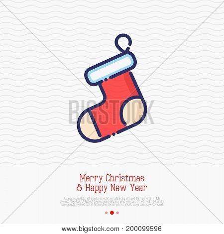 Christmas red sock for gifts. Vector illustration. Symbol of Christmas and New Year, element for greeting card.