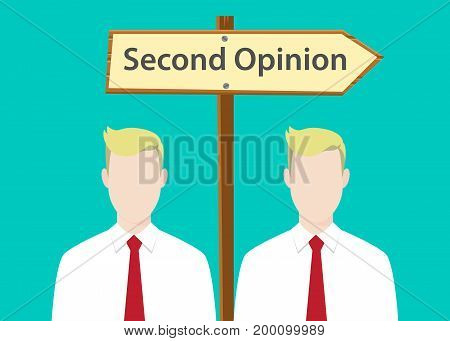second opinion sign illustration with two people with signboard as background vector
