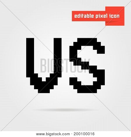 black editable vs pixel icon. concept of 8bit videogame, together confrontation, enemy, assault, wrestling. isolated on gray background. pixelart style trend modern logotype design vector illustration