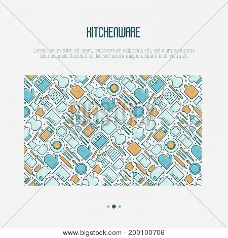 Kitchenware and tableware concept with thin line icons set. Vector illustration for cooking recipes, menu, shop, web site, app.