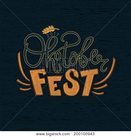 Oktoberfest celebration background, logo. German Lettering typography. Beer festival vector illustration.