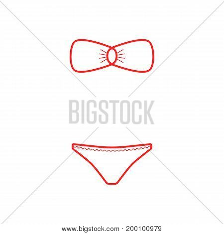red outline swimming suit. concept of fashionable, sunbath, holiday, seaside, tankini, knickers, apparel, rest. isolated on white background. linear style trend modern logo design vector illustration