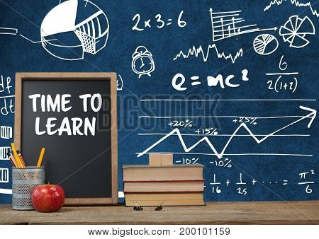 Digital composite of Time to learn Desk foreground with blackboard graphics of math science equations