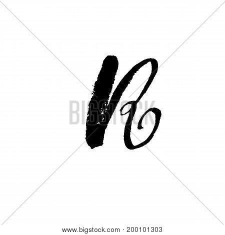 Letter R. Handwritten by dry brush. Rough strokes font. Vector illustration. Grunge style elegant alphabet.