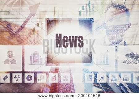 A coloured display of a business News collage concept