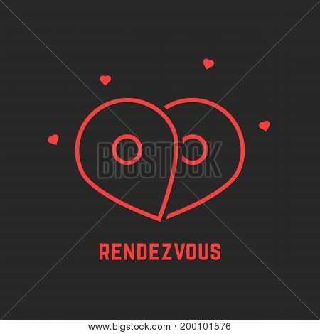 red rendezvous icon with pin. concept of honeymoon, passion, enamored human, destination, happiness, trip. isolated on black background. linear style trend modern logotype design vector illustration