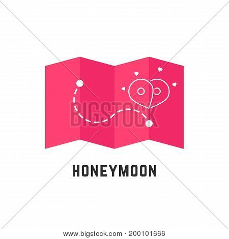 honeymoon icon with pink map pin. concept of enamored, bridal plan, event, happiness, trip, ceremony, honeymoon period. isolated on white background. flat style modern logo design vector illustration