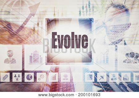 A coloured display of a business Evolve collage concept