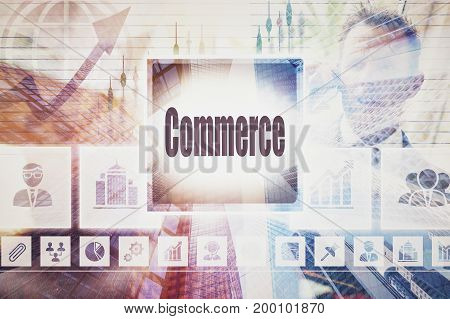 A coloured display of a business Commerce collage concept
